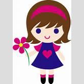 Cute Little Girl Holding Daisy - Free Clip Art