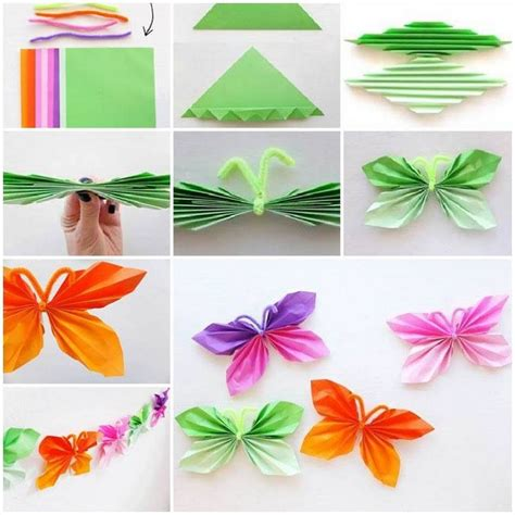 Folded Paper Butterflies - easy paper folding crafts recycled things