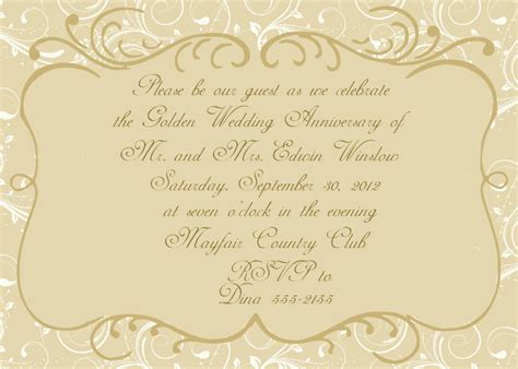templates for golden wedding invitations anniversary invitations golden wedding anniversary