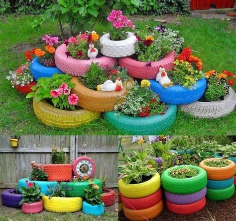 Tire Planters Garden by Tire Flower Bed Yard Flower And Gardens