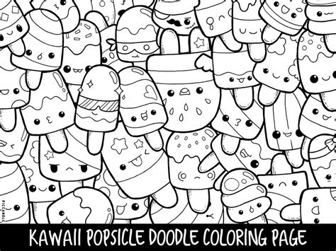 popsicle doodle coloring page printable kawaii coloring