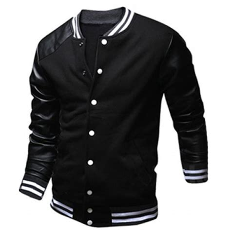 Jaket Sweater Bomber 2 stylish stand collar slimming color block pu leather splicing sleeve polyester jacket for