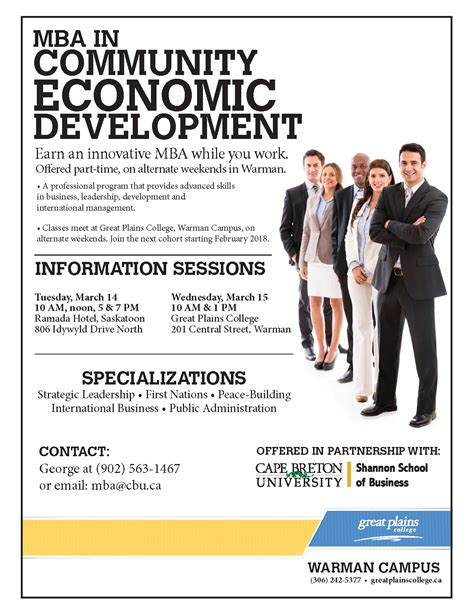 Mba In Community Economic Development mba information sessions great plains college