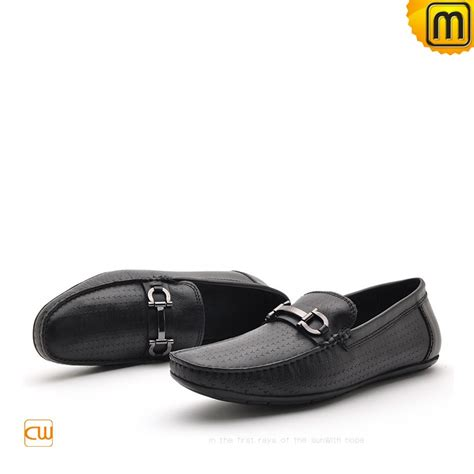 black loafers shoes mens black leather driving loafers cw712395
