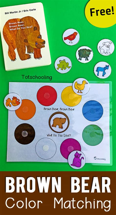 color activities for toddlers brown color matching printable for toddlers