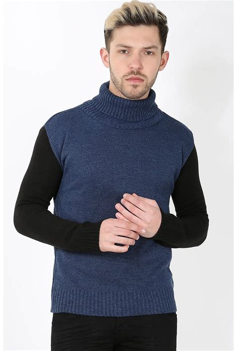 polo knit pullover mens designer contrast sleeves polo roll neck knit