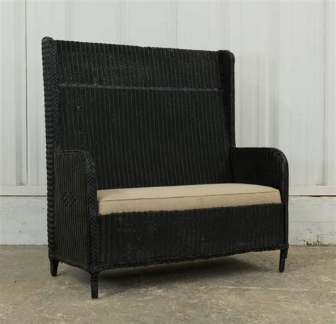 high bench vintage high back wicker hall bench with cushion at 1stdibs