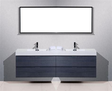 Modern Bathroom Vanities Los Angeles Bliss 80 Quot High Gloss Gray Oak Wall Mount Sink