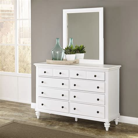 white bedroom dresser with mirror home styles bermuda brushed white dresser and mirror