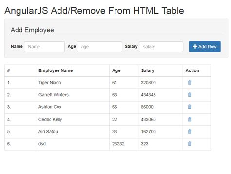 how to a table in html code dynamically add remove row in html table angularjs