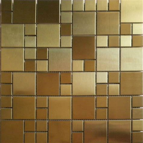 gold backsplash tile brushed gold metal mosaic pattern smmt026 stainless steel