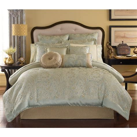 blue and gold bedding greenwich aqua blue and gold paisley bedding by croscill