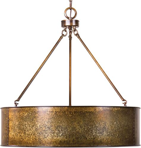 Drum Pendant Lights Uttermost 22067 Wolcott Retro Golden Galvanized Drum Pendant Light Fixture Utt 22067