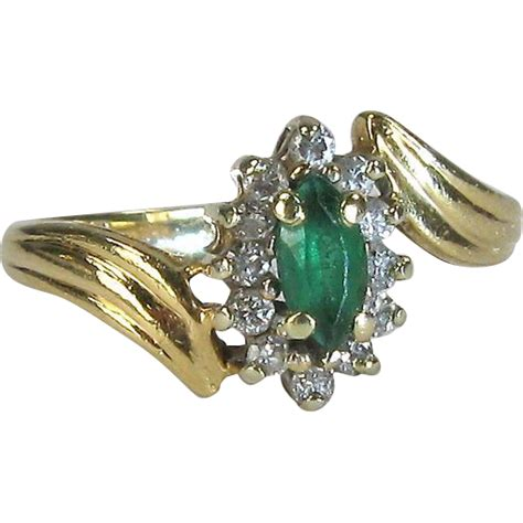 vintage 14k yellow gold emerald and ring from