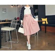 Tie Waist Pleated Plain Midi Skirt women s midi maxi skirts yesstyle