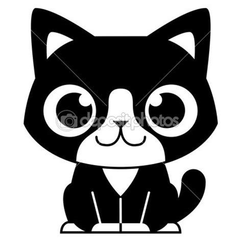 imagenes kawaii a blanco y negro dibujos animados adorable gato blanco y negro vector de