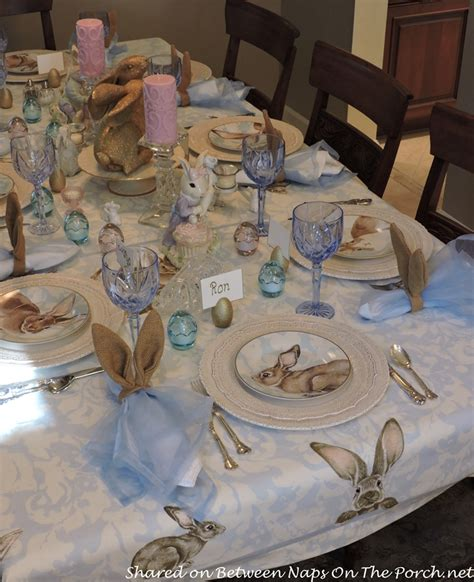 Sewing Ideas For Home Decorating by Spring Easter Tablescape With Williams Sonoma Damask Bunny