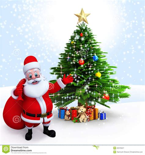 santa claus with tree images santa claus pointing to a tree stock illustration image 22376227