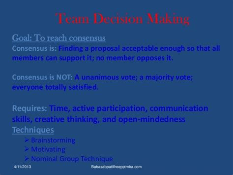Mba Communications by Team Work Ppt Mba Communication