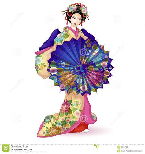 kimono doll design umbrella kimono cartoons illustrations vector stock images