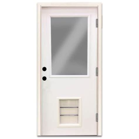Exterior Door With Pet Door Steves Sons Premium Half Lite Primed White Steel Prehung Front Door With Large Pet Door Spd