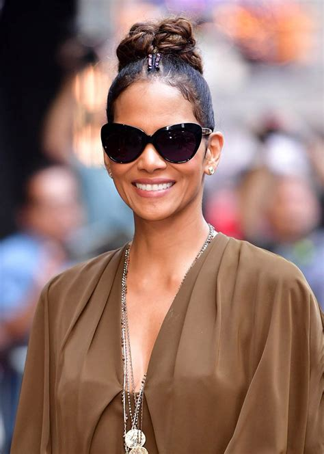 Halle Berry by Halle Berry Looks Great In A Top Knot While Promoting