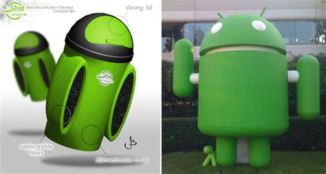 android trash bin meet the android robot s lost cousin the smellfree compost bin intomobile