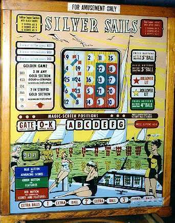 silver sails bingo or in line pinball machine