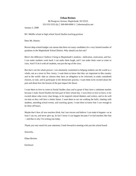 Cover Letter For Middle School Middle School Or High School Social Studies Cover Letter Sles And Templates