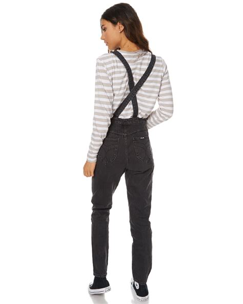 Overall Black T3009 3 rollas dusters womens denim overalls black steel surfstitch