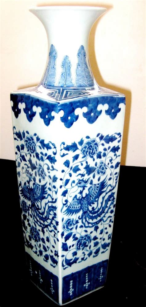 antique porcelain blue and white porcelain square vase antique porcelain large square blue and white vase