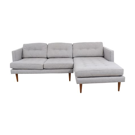 tufted sectional with chaise 39 off west elm west elm grey tufted chaise sectional