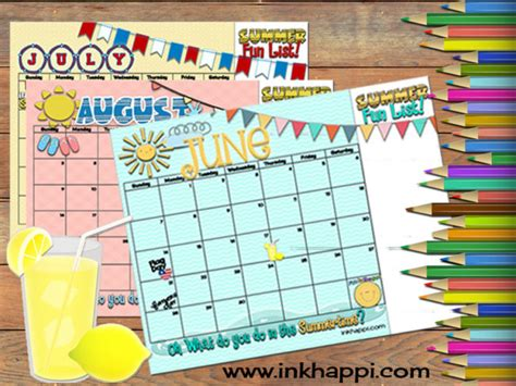 printable calendar 2015 summer summer activities and free printable calendars inkhappi