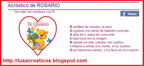 imagenes te amo rosario acr 243 stico de rosario acrosticos de amor frases cortas en