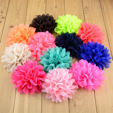 new style beautiful chiffon big flower headband baby aliexpress buy 30color new style 3 9 big chiffon