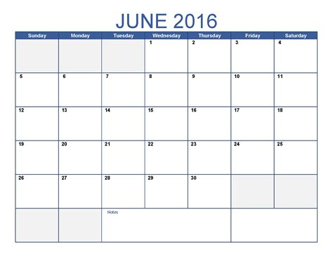 Blank Printable Calendars June 2016 Printable Calendar Blank Templates Printable