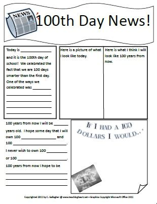 100th day writing paper rock 100 days