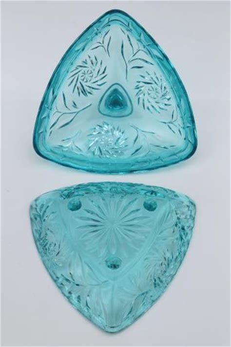 triangle pattern glass vintage hazel atlas blue glass candy dish pinwheel