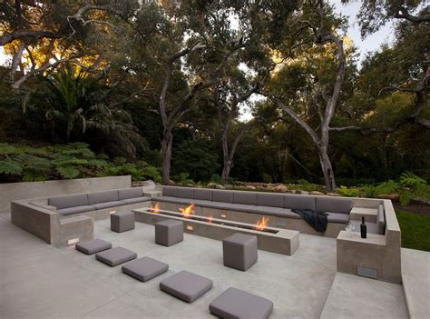 fire pit bench cushions los angeles basement emergency patio modern with long fire