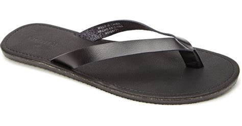 Faux Leather Flip Flops lyst forever 21 mens faux leather flip flops in black