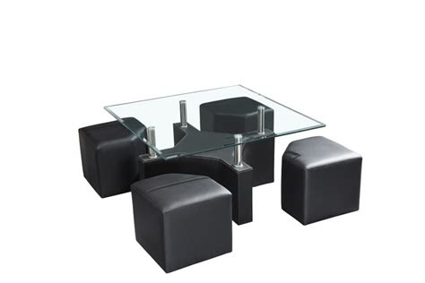 Table Basse Carr 233 E Avec Poufs Iena Noir Chocolat Table