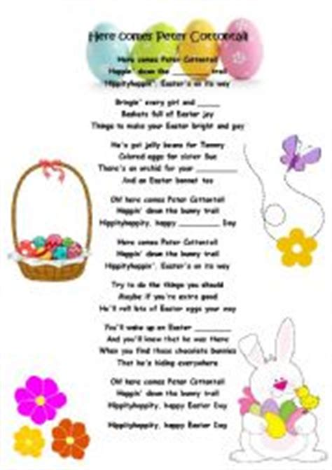 printable lyrics here comes peter cottontail english worksheets easter song here comes peter cottontail