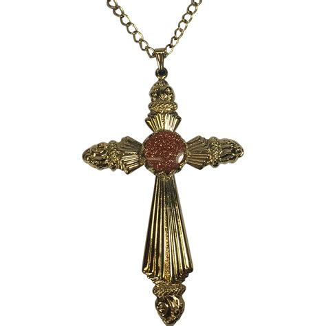 vintage cross pendant w torch design goldstone from