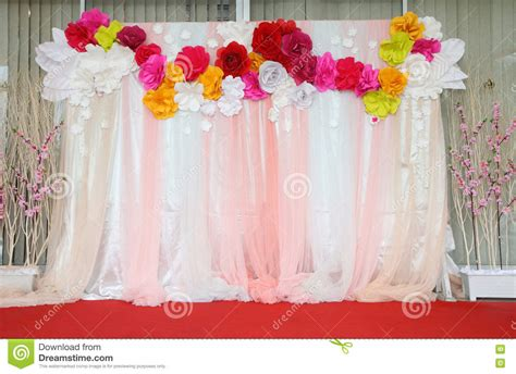 Backdrop Paper Flower Hiasan Jendela Ready Stock colorful backdrop paper flower with fabric arrangement stock photo image 58215243