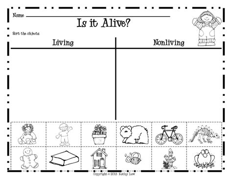 Living And Nonliving Things Worksheets Pdf kindergarten living and non living worksheets donna
