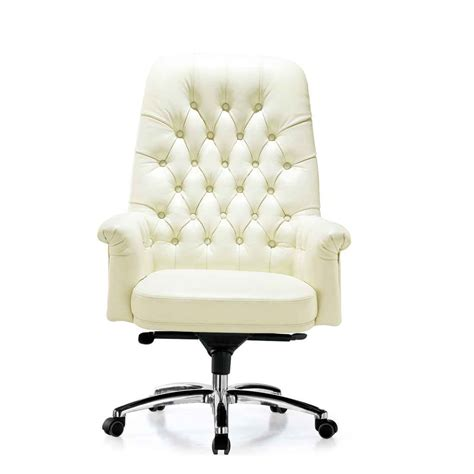White Leather Desk Chair white leather office chair myideasbedroom