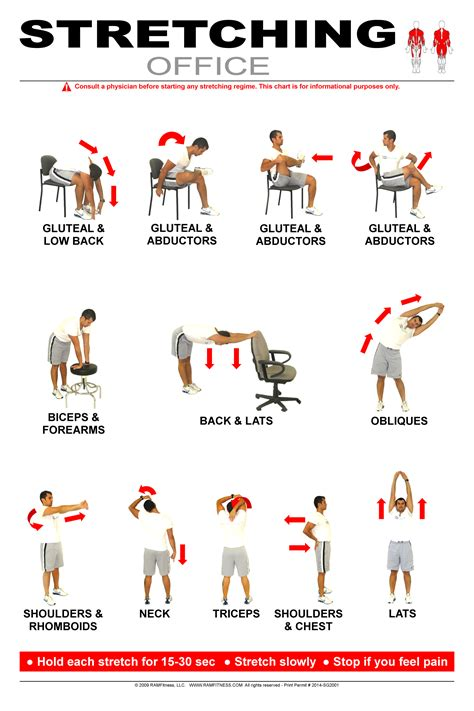 Desk Stretches At The Office Office Poster 24 Quot X 36 Quot