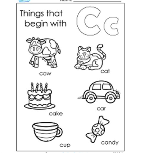 coloring pages of things that start with c 100 letter c picture worksheets letter c worksheets