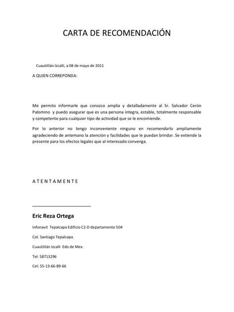 carta de recomendacion laboral destinatario carta de recomendaci 211 n formato
