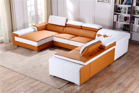 Orange Sectional Sofa Divani Casa T366 Modern Orange White Leather Sectional Sofa